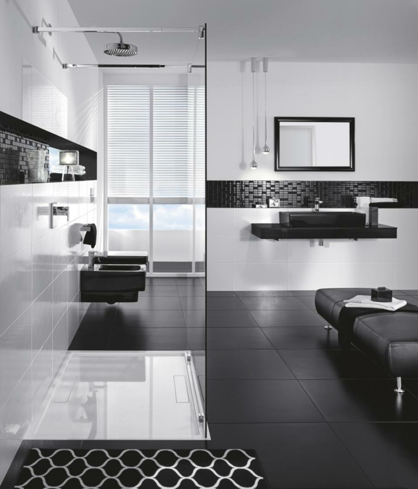 Black White And Silver Bathroom: Bold, Beautiful Black And White Bathroom Design Ideas