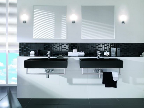 Bold beautiful black and white bathroom design ideas - Accessoires salle de bain design noir ...