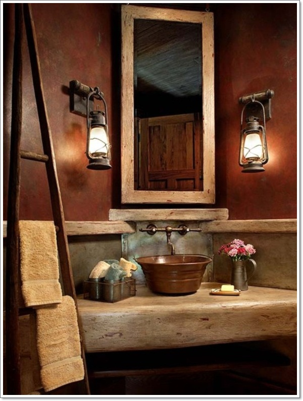 42 ideas for the perfect rustic bathroom design for Rustic half bath ideas