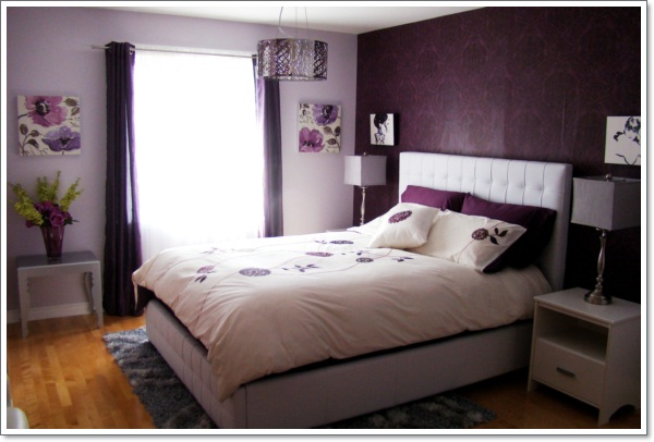 35 inspirational purple bedroom design ideas for Purple and brown bedroom designs