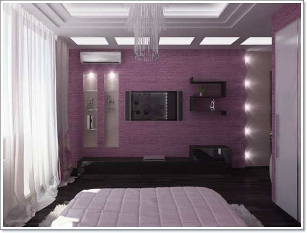 35 inspirational purple bedroom design ideas for Purple and white bedroom designs