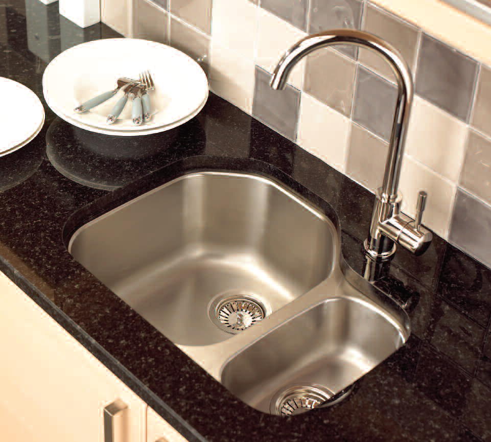 Undermount Corner Kitchen Sinks Stainless Steel : Undermount-Stainless-Steel-Kitchen-Sink-with-Black-Marble