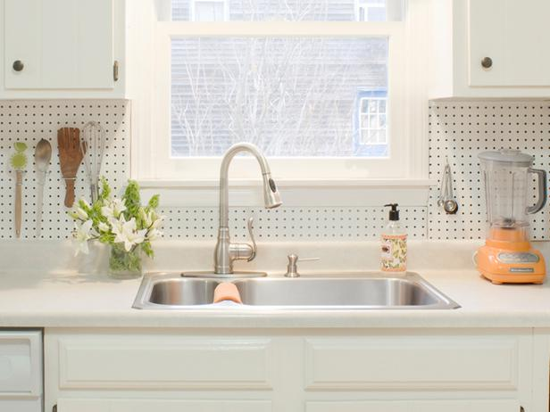 Not only is a pegboard backsplash easy to clean and inexpensive to ...
