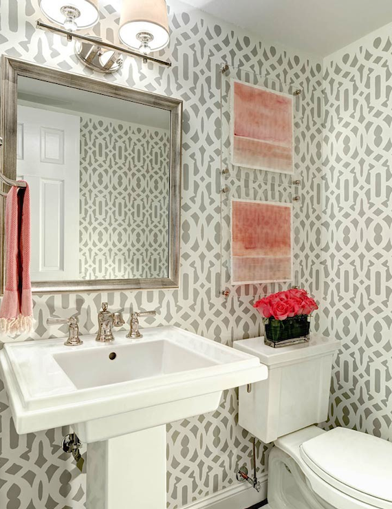 20 practical pretty powder room decorating ideas for Gray bathroom wallpaper