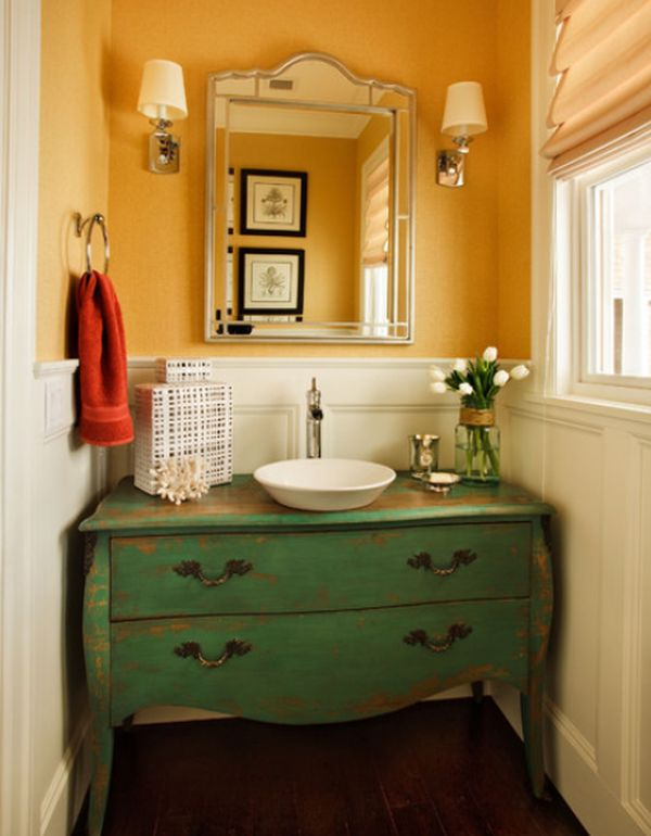 20 practical pretty powder room decorating ideas for Powder room vanity ideas