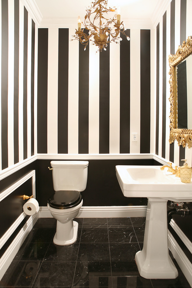striped-walls-wallpaper-molding-gold-chandelier-traditional-powder-room