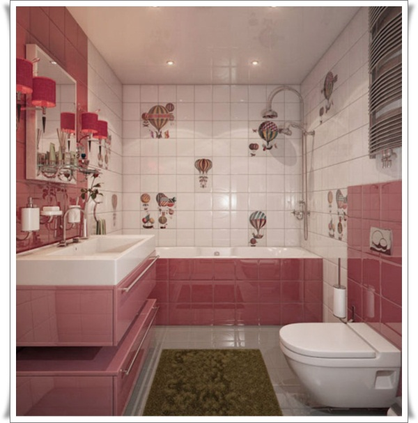 Girlish-Pink-Modern-Kids-Bathroom-with-Colorful-Tile-Installment