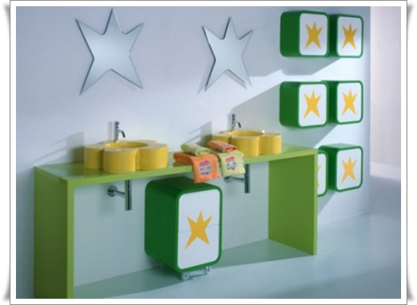 Playful-Modern-Kids-Bathroom-Ideas-with-Star-Decoration-and-Floral-Shaped-Bathroom-Sink