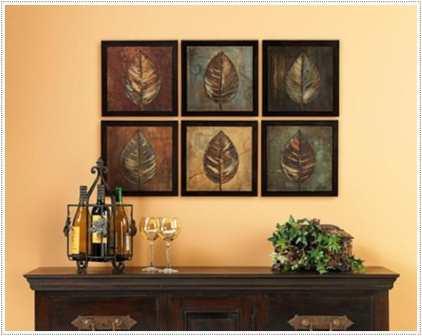 45 easy to make wall art ideas for those on a budget for Dining room wall art canvas