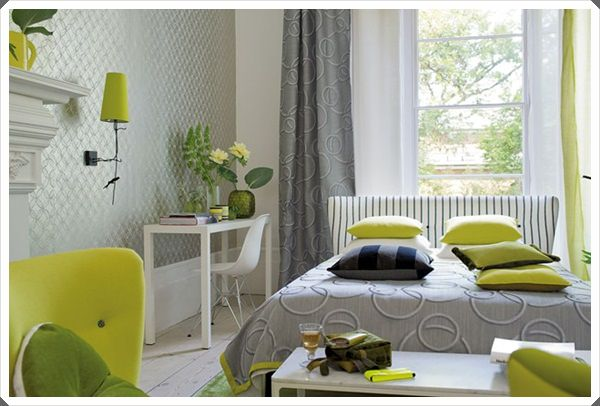 grey bedroom ideas green